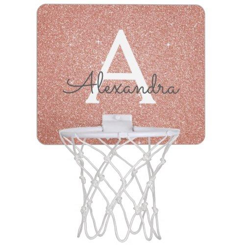 Pink Rose Gold Glitter & Sparkle Monogram Name Mini Basketball Hoop