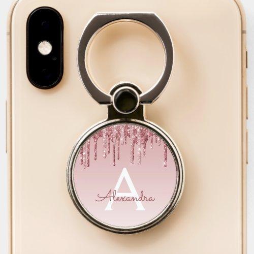 Pink Rose Gold Glitter Sparkle Monogram Phone Case