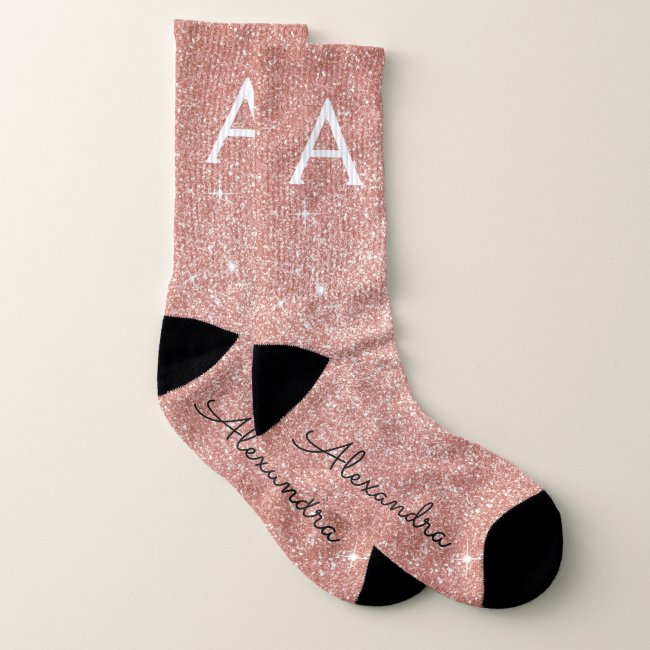 Pink Rose Gold Glitter & Sparkle Monogram Socks