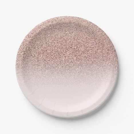 Pink Rose Gold Glitter & Sparkle Ombre Birthday Paper Plate