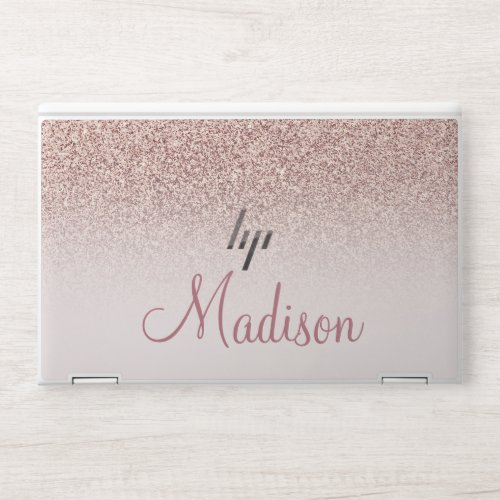 Pink Rose Gold Glitter & Sparkle Personalized HP Laptop Skin