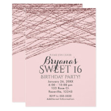 Pink Rose Gold Glitter Sweet 16 Birthday Party Card