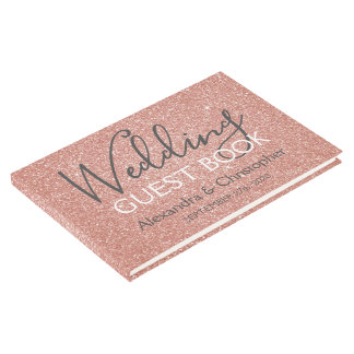 Pink Rose Gold Glitter Wedding Guest Book