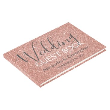Wedding Themed Pink Rose Gold Glitter Wedding Guest Book