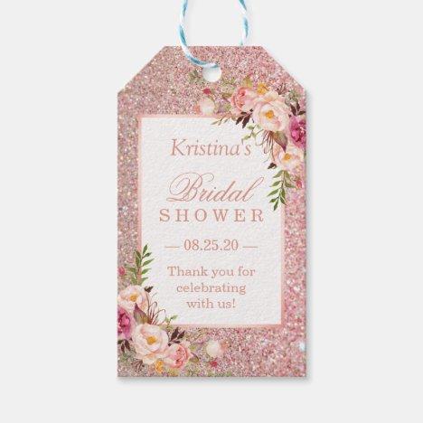 Pink Rose Gold Glitters Floral Bridal Shower Favor Gift Tags