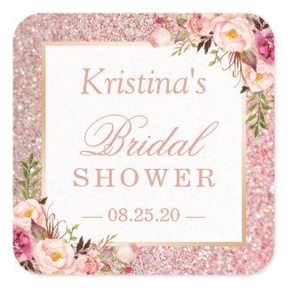 Pink Rose Gold Glitters Floral Bridal Shower Favor Square Sticker