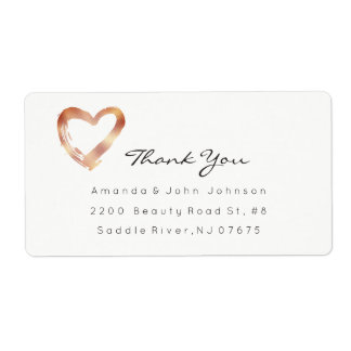 Pink Rose Gold Heart Blush White Custom Thank You Label