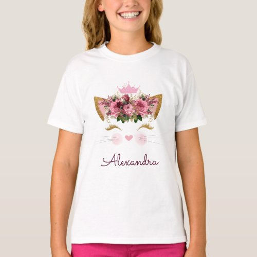Pink Rose Gold Kitty Monogram Birthday T_Shirt
