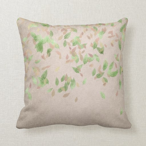 Pink Linen Throw Pillow : Pink Rose Gold Leafs Mint Green Ivory Linen Throw Pillow Zazzle