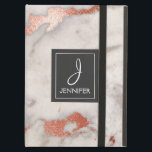 "Pink Rose Gold Marble Elegant Monogram iPad Air Cover<br><div class=""desc"">Pink Rose Gold Faux Marble Elegant Monogram Case. This case can be customized to include your initial and full name.</div>"