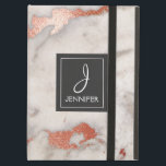 """Pink Rose Gold Marble Elegant Monogram iPad Air Cover<br><div class=""""desc"""">Pink Rose Gold Faux Marble Elegant Monogram Case. This case can be customized to include your initial and full name.</div>"""