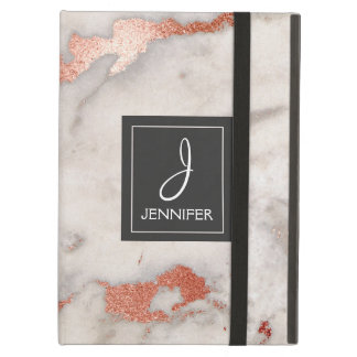 Pink Rose Gold Marble Elegant Monogram iPad Air Cover
