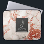 """Pink Rose Gold Marble Elegant Monogram Laptop Sleeve<br><div class=""""desc"""">Pink Rose Gold Faux Marble Elegant Monogram Case. This case can be customized to include your initial and full name.</div>"""