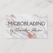 Pink & Rose Gold Marble Microblading Business Card