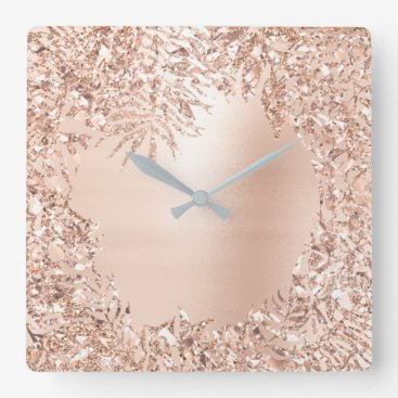 Beach Themed Pink Rose Gold Metallic Floral Botanical Glitter Square Wall Clock