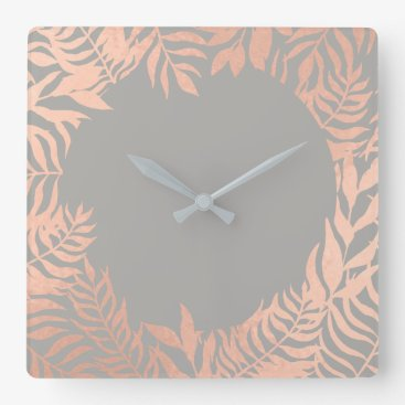 Beach Themed Pink Rose Gold Metallic Gray Floral Frame Pastel Square Wall Clock
