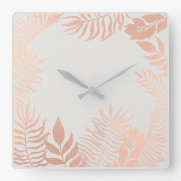 Beach Themed Pink Rose Gold Metallic Gray Palm Botanical Pastel Square Wall Clock