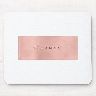 Pink Rose Gold Metallic Minimal White Rectangula Mouse Pad