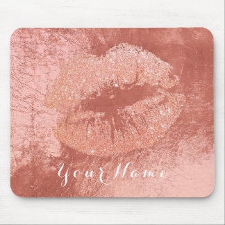 Pink Rose Gold Metallic Name Makeup Lips Kiss Mouse Pad