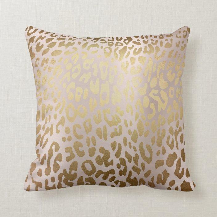 Pink Rose Gold Metallic Steel Leopard Animal Skin Throw Pillow Zazzle Com