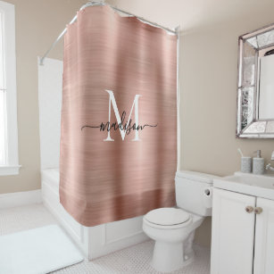 Pink Rose Gold Monogram Feminine Script Glam Metal Shower Curtain