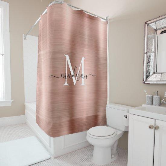 Pink Rose Gold Monogram Feminine Script Glam Metal Shower Curtain