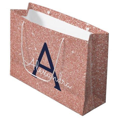 Pink Rose Gold Navy Blue Glitter Sparkle Monogram Large Gift Bag