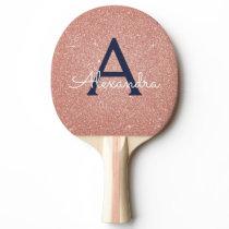 Pink Rose Gold Navy Blue Glitter Sparkle Monogram Ping Pong Paddle