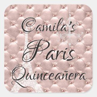 Pink Rose Gold Paris Quinceañera Celebration Square Sticker