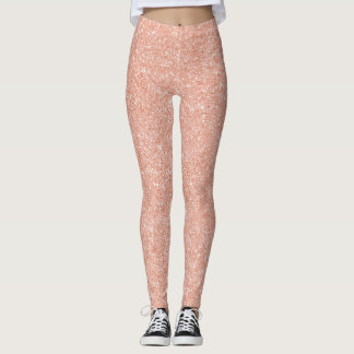 Pink Rose Gold Peach Sparkly Glitter Minimal Glam Leggings