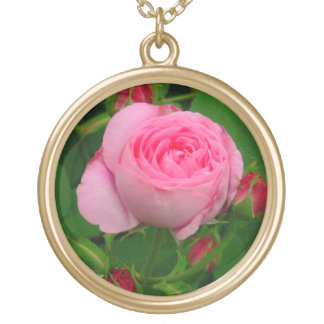 """ PINK ROSE"" GOLD PLATED NECKLACE"
