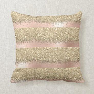Beach Themed Pink Rose Gold Powder Blush Lux Glitter Stripes Throw Pillow