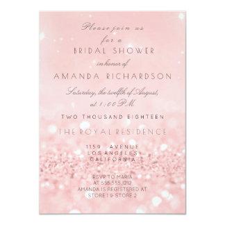 Pink Rose Gold Powder Glitter Bridal Shower Card