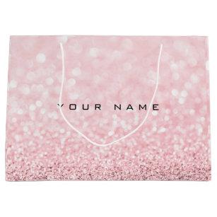 Pink Rose Gold Powder Glitter Favor Gift Name Large Bag