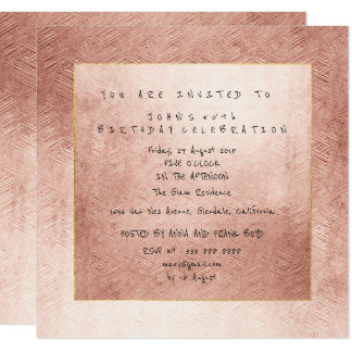 Pink Rose Gold Powder Gold Birthday Party Card