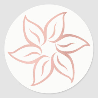 Pink Rose Gold Powder Metallic Mandala Flower Classic Round Sticker