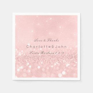 Pink Rose Gold Powder Sparkly Glitter Custom Paper Napkin