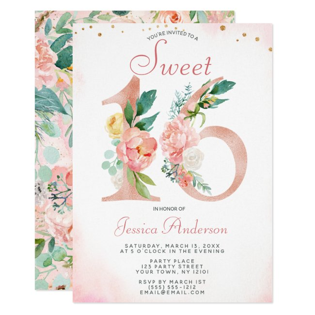 Pink Rose Gold Princess Floral Sweet 16 Birthday Invitation