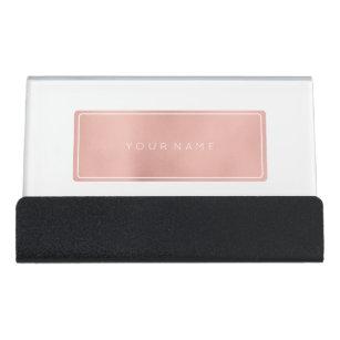 Business card holders zazzle pink rose gold rectangular powder metallic vip desk business card holder colourmoves