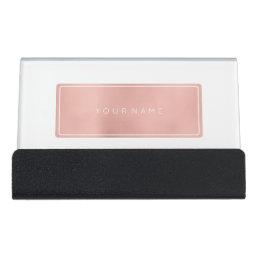 Pink Rose Gold Rectangular Powder Metallic Vip Desk Business Card Holder