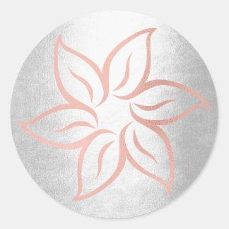 Pink Rose Gold Silver Gray Metallic Mandala Flower Classic Round Sticker