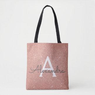 Pink Rose Gold Sparkle Elegant Monogram Book Bag