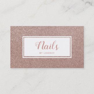 Pink Rose Gold Sparkle Glitter Nail Artist Business Card