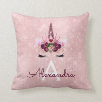 Pink Rose Gold Sparkle Unicorn Monogram Room Decor Throw Pillow