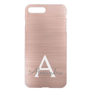 Pink Rose Gold Stainless Steel Monogram iPhone 8 Plus/7 Plus Case
