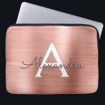 "Pink Rose Gold Stainless Steel Monogram Laptop Sleeve<br><div class=""desc"">Pink Rose Gold Faux Stainless Steel Elegant Monogram Sleeve. This sleeve can be customized to include your initial and first name.</div>"