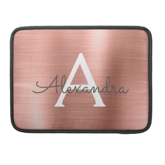 Pink Rose Gold Stainless Steel Monogram MacBook Pro Sleeve