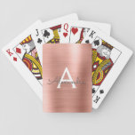 "Pink Rose Gold Stainless Steel Monogram Playing Cards<br><div class=""desc"">Pink Rose Gold Faux Metallic Foil Stainless Steel Elegant Monogram Playing Cards. These playing cards can be customized to include your initial and first name and make a great party favor for a birthday party,  bridal shower or bachelorette party.</div>"