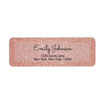 Pink Rose Gold Wedding Glitter and Sparkle Label