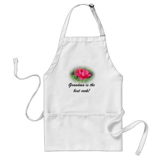 pink rose, grandma is the best cook adult apron
